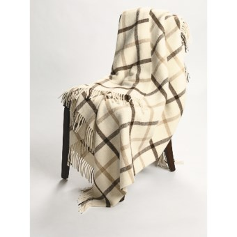 Johnstons of Elgin Alpaca-Lambswool Throw Blanket - Limited Edition, Windowpane in Natural