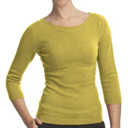 Johnstons of Elgin Boat Neck Sweater - Cashmere (For Women) in Chartreuse