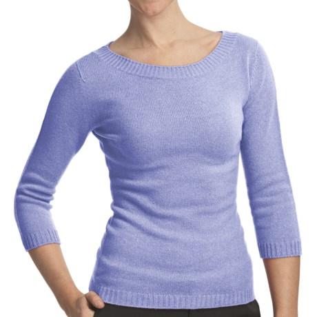 Johnstons of Elgin Boat Neck Sweater - Cashmere (For Women) in Harebell
