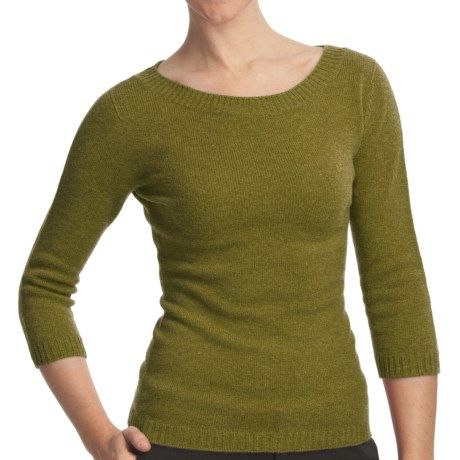 Johnstons of Elgin Boat Neck Sweater - Cashmere (For Women) in Olive