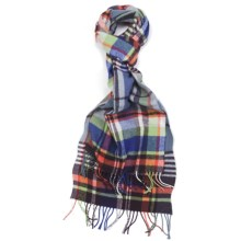 Johnstons of Elgin Bright Buffalo Check Scarf - Woven Lambswool in Wine/Blue/Orange - Closeouts