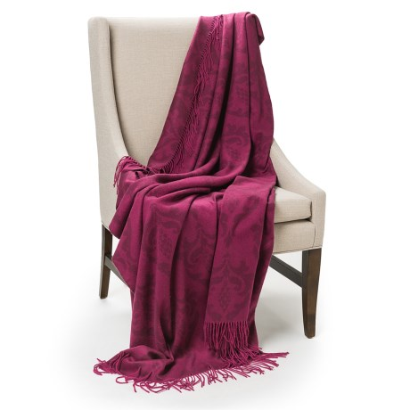 Johnstons of Elgin Bright Damask Throw Blanket - Cashmere in Berry
