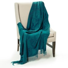 Johnstons of Elgin Bright Damask Throw Blanket - Cashmere in Teal - Closeouts