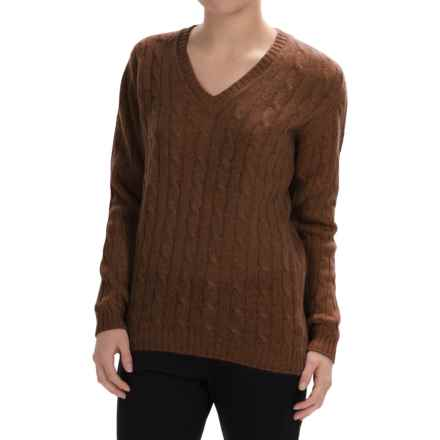 Johnstons of Elgin Cable-Knit Cashmere Sweater (For Women) in Tobacco - Closeouts