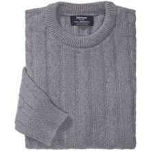 Johnstons of Elgin Cable-Knit Lambswool Sweater (For Men) in Grey Mix - Closeouts