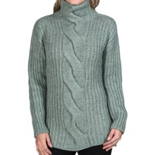 Johnstons of Elgin Cable-Knit Turtleneck Sweater - Cashmere (For Women) in Lichen - Closeouts