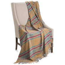 "Johnstons of Elgin Camel Hair Throw Blanket - 58x66"" in Camel / Pink / Sky Blue - Closeouts"