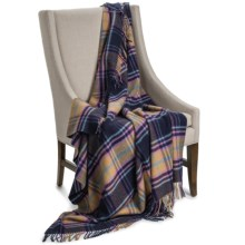 "Johnstons of Elgin Camel Hair Throw Blanket - 58x66"" in Navy Blue / Camel Plaid - Closeouts"