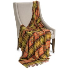 "Johnstons of Elgin Camel Hair Throw Blanket - 58x66"" in Yellow / Persimmon / Brown Plaid - Closeouts"
