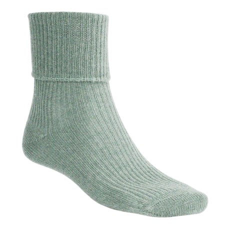 Johnstons of Elgin Cashmere Bed Socks (For Women) in Eau De Nil