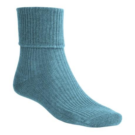 Johnstons of Elgin Cashmere Bed Socks (For Women) in Kingfisher