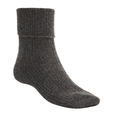 Johnstons of Elgin Cashmere Bed Socks (For Women) in Mid Grey