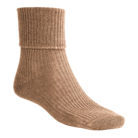 Johnstons of Elgin Cashmere Bed Socks (For Women) in Wildbeest
