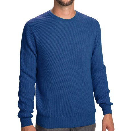 Johnstons of Elgin Cashmere Cardigan Stitch Sweater (For Men) in Blue Mix