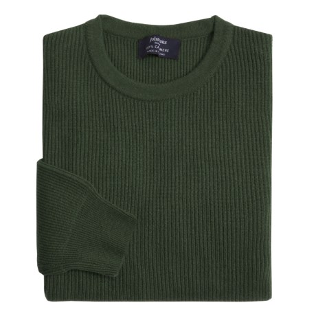 Johnstons of Elgin Cashmere Cardigan Stitch Sweater (For Men) in Purple Heather