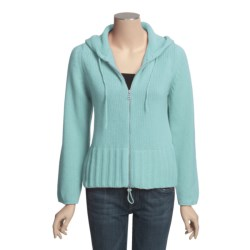 Johnstons of Elgin Cashmere Cardigan Sweater - Hooded (For Women) in Aqua