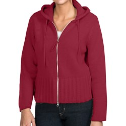 Johnstons of Elgin Cashmere Cardigan Sweater - Hooded (For Women) in Raspberry