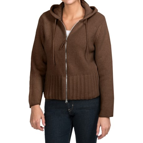 Johnstons of Elgin Cashmere Cardigan Sweater - Hooded (For Women) in Tobacco