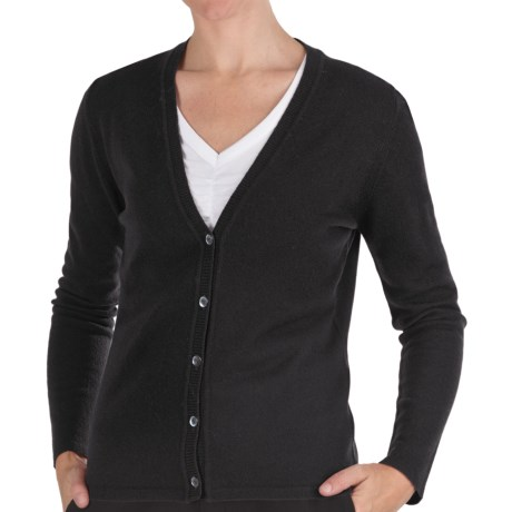 Johnstons of Elgin Cashmere Classic V-Neck Cardigan Sweater - 21-Gauge (For Women) in Ruby