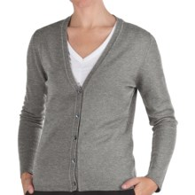 Johnstons of Elgin Cashmere Classic V-Neck Cardigan Sweater - 21-Gauge (For Women) in Brume - Closeouts