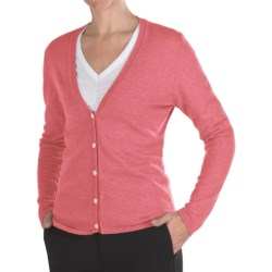 Johnstons of Elgin Cashmere Classic V-Neck Cardigan Sweater - 21-Gauge (For Women) in Dusky Pink