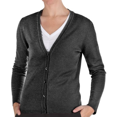 Johnstons of Elgin Cashmere Classic V-Neck Cardigan Sweater - 21-Gauge (For Women) in Lead