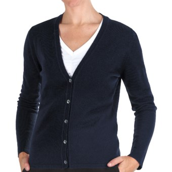 Johnstons of Elgin Cashmere Classic V-Neck Cardigan Sweater - 21-Gauge (For Women) in Nero Navy