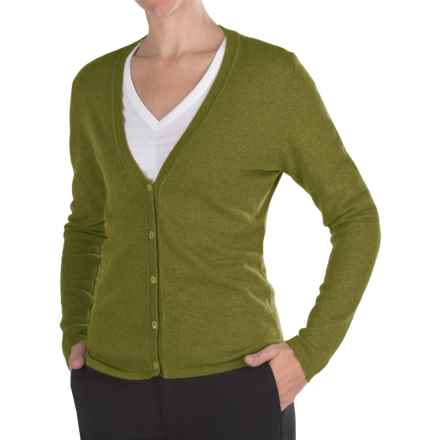 Johnstons of Elgin Cashmere Classic V-Neck Cardigan Sweater - 21-Gauge (For Women) in Olive - Closeouts