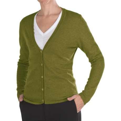 Johnstons of Elgin Cashmere Classic V-Neck Cardigan Sweater - 21-Gauge (For Women) in Olive