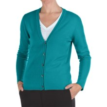 Johnstons of Elgin Cashmere Classic V-Neck Cardigan Sweater - 21-Gauge (For Women) in Parrot - Closeouts