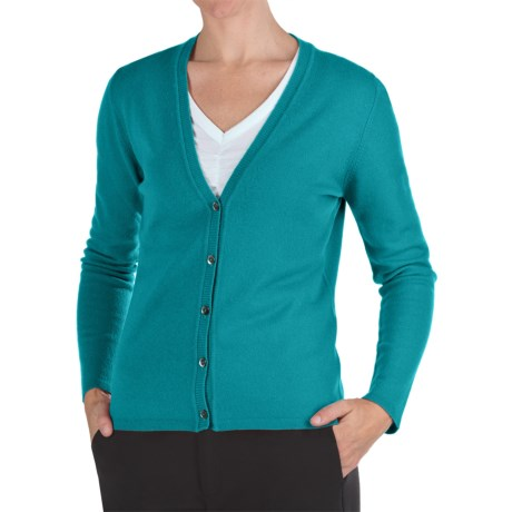 Johnstons of Elgin Cashmere Classic V-Neck Cardigan Sweater - 21-Gauge (For Women) in Parrot