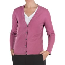 Johnstons of Elgin Cashmere Classic V-Neck Cardigan Sweater - 21-Gauge (For Women) in Petal - Closeouts