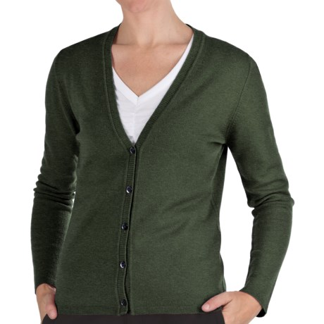 Johnstons of Elgin Cashmere Classic V-Neck Cardigan Sweater - 21-Gauge (For Women) in Pine