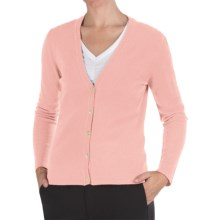 Johnstons of Elgin Cashmere Classic V-Neck Cardigan Sweater - 21-Gauge (For Women) in Rose Pink - Closeouts