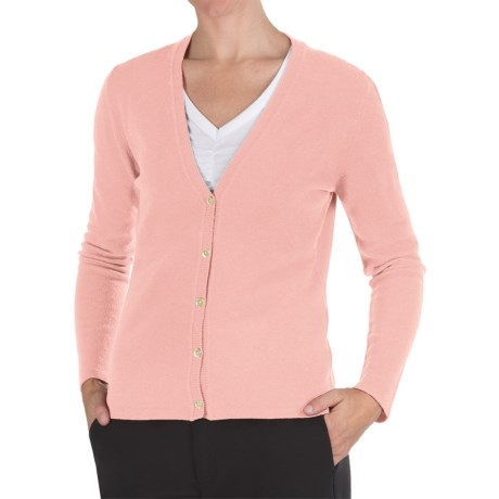 Johnstons of Elgin Cashmere Classic V-Neck Cardigan Sweater - 21-Gauge (For Women) in Rose Pink