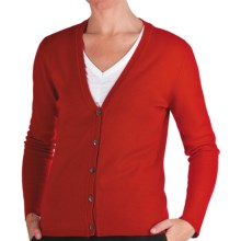 Johnstons of Elgin Cashmere Classic V-Neck Cardigan Sweater - 21-Gauge (For Women) in Ruby - Closeouts