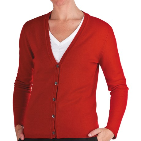 Johnstons of Elgin Cashmere Classic V-Neck Cardigan Sweater - 21-Gauge (For Women) in Tobacco