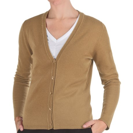 Johnstons of Elgin Cashmere Classic V-Neck Cardigan Sweater - 21-Gauge (For Women) in Sand
