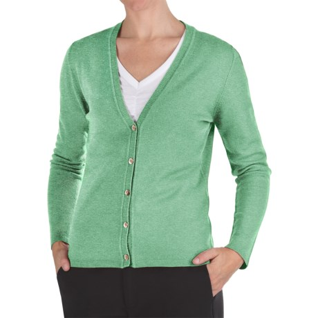 Johnstons of Elgin Cashmere Classic V-Neck Cardigan Sweater - 21-Gauge (For Women) in Sea Holly