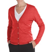 Johnstons of Elgin Cashmere Classic V-Neck Cardigan Sweater - 21-Gauge (For Women) in Seville - Closeouts