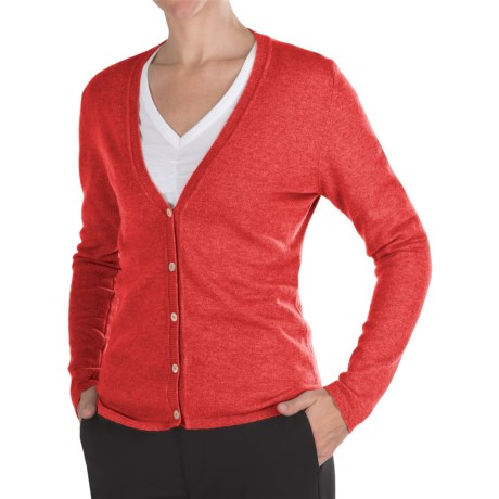 Johnstons of Elgin Cashmere Classic V-Neck Cardigan Sweater - 21-Gauge (For Women) in Seville