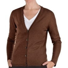 Johnstons of Elgin Cashmere Classic V-Neck Cardigan Sweater - 21-Gauge (For Women) in Tobacco - Closeouts
