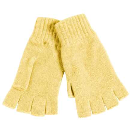 Johnstons of Elgin Cashmere Fingerless Gloves (For Women) in Daffodil - Closeouts