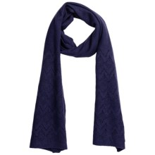 Johnstons of Elgin Cashmere Pointelle Scarf (For Women) in French Navy - Closeouts