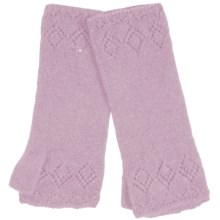Johnstons of Elgin Cashmere Pointelle Wrist Warmers (For Women) in Cherry Blossom - Closeouts