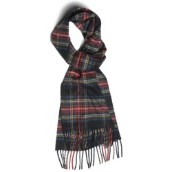 Johnstons of Elgin Cashmere Scarf (For Men and Women) in Black Stewart
