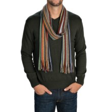 Johnstons of Elgin Cashmere Scarf (For Men and Women) in Black/White/Purple Multi - Closeouts