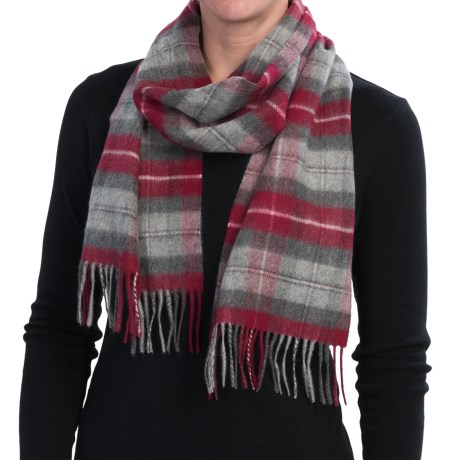 Johnstons of Elgin Cashmere Scarf (For Men and Women) in Grey/Red Plaid