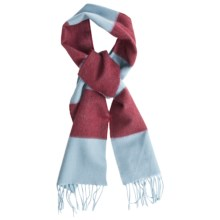 Johnstons of Elgin Cashmere Scarf (For Men and Women) in Light Blue/Red - Closeouts