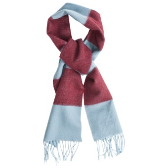 Johnstons of Elgin Cashmere Scarf (For Men and Women) in Light Blue/Red